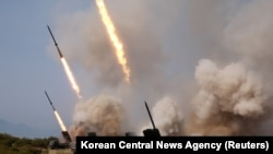 "North Korean military conducts a ""strike drill"" for multiple launchers and tactical guided weapon into the East Sea during a military drill in North Korea, in this May 4, 2019 photo supplied by the Korean Central News Agency (KCNA)."
