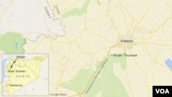 نقشه منطقه خان طومان در نزدیکی حلب را نشان می دهد.