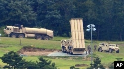 U.S. missile defense system called Terminal High Altitude Area Defense, or THAAD, is seen at a golf course in Seongju, South Korea, Sept. 6, 2017.