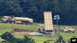FILE - A U.S. missile defense system called Terminal High Altitude Area Defense, or THAAD, is seen in Seongju, South Korea, Sept. 6, 2017.