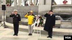 """""""國家二戰紀念碑之友""""11月20日舉辦紀念活動,紀念75年前美軍在太平洋戰場上與日軍展開的一場慘烈的較量。"""
