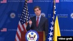 Ambasador SAD u BiH Eric Nelson održao prvu konferenciju za novinare, Ambasada SAD u BiH, Sarajevo, 7. mart