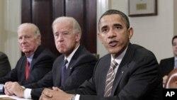 Shugaba Barack Obama yake magana a fadar White a wani taro gameda shirin rage makaman Nukiliya da Rasha.