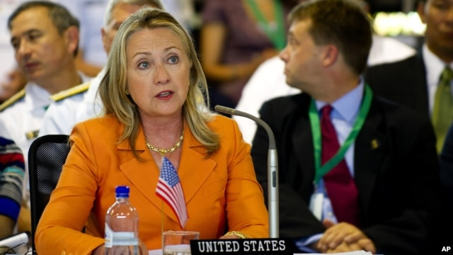 U.S. Secretary of State Hillary Clinton delivers remarks during the Pacific Island Forum Post-Forum Dialogue in Rarotonga, Cook Islands,  August 31, 2012.