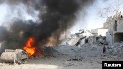 6月20日,叙利亚政府军在阿勒颇投下炸弹