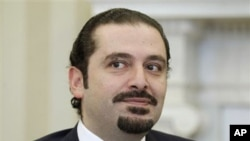 Lebanese Prime Minister Saad Hariri in the Oval Office of the White House in Washington, 12 Jan 2011