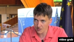 Ukraine legislator Nadiya Savchenko spoke with Danila Galperovich of VOA's Russian service at a meeting of the Parliamentary Assembly of the Council of Europe (PACE) in Strasbourg, France, June 20, 2016.