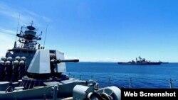 Hải quân Ấn Độ và Hải quân Việt Nam tập trận trên Biển Đông gần vịnh Cam Ranh.   Photo Credit: PTI via @PRO_Vizag via The Hindu.