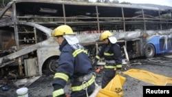 지난 8월 중국 산시성에서 발생한 버스 추돌사고 현장. (자료사진)