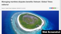 """Hôm 27/8/2020, tờ Hoàn cầu Thời báo của Trung Quốc cảnh báo rằng Việt Nam sẽ gánh chịu """"những hậu quả về ý thức hệ"""" nếu cứ tiếp tục dùng địa chính trị, """"giao thiệp"""" với Mỹ, để giải quyết vấn đề tranh chấp Biển Đông."""