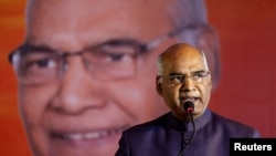 FILE - Ram Nath Kovind delivers a speech in Ahmedabad, India, July 15, 2017.