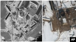 Satellite images of nuclear complex in Yongbyon, North Korea, Sept. 20, 2011 and Feb. 3, 2012. (DigitalGlobe)