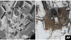 FILE - Satellite images of nuclear complex in Yongbyon, North Korea, Sept. 20, 2011 and Feb. 3, 2012. (DigitalGlobe)
