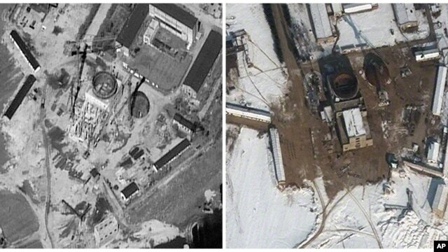 Satellite images of the nuclear complex in Yongbyon, North Korea, Sept. 20, 2011 and Feb. 3, 2012.