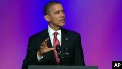 美國總統奧巴馬星期二在華盛頓向汽車工會工人大會發表演講。