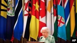 ဓနသဟာယႏိုင္ငံမ်ားရဲ႕ ႏိုင္ငံဥေသွ်ာင္ ဒုတိယေျမာက္ Elizabeth ဘုရင္မႀကီးက Buckingham နန္းေတာ္မွာ ၾကာသပေတးေန႔ကျပဳလုပ္တဲ့ ဖြင့္ပဲြအခမ္းအနား မိန္႔ခြန္းေျပာစဥ္။