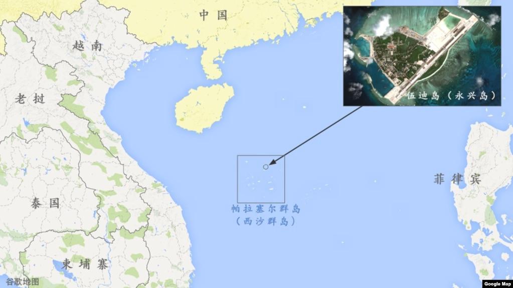 伍迪島(永興島)在南中國海中的位置圖