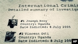"International Criminal Court indictment list displays Joseph Kony, Vincent Otti, from ""Kony 2012 Part II"" (file photo)."