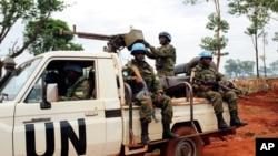 Des casques bleus à Bria, Centrafrique, le 26 mai 2017.