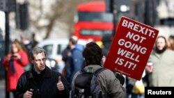 Demonstrant protiv Bregzita šeta ispred parlamenta u Londonu, 14. marta 2019.