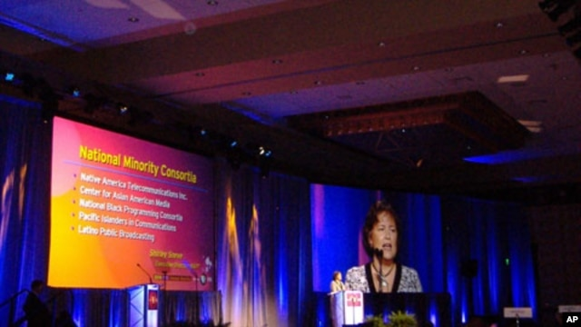 NAPT Executive Director Shirley Sneve gives a presentation during the 2010 PBS Annual Showcase in Austin, Texas.
