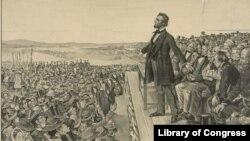 1863년 11월 9일 에이브러햄 링컨 대통령의 게티스버그 국립묘지 봉헌식 연설을 묘사한 신문 삽화.