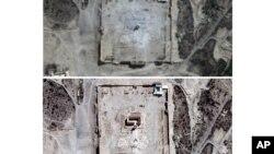 تصاویر ماهواره ای از یک معبد تاریخی در پالمیرای سوریه حاکی از تخریب آن توسط پیکارجویان داعش است.
