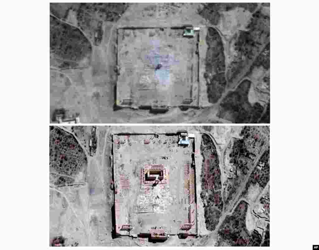 This combination of two satellite images provided by UNITAR-UNOSAT shows before (below) and after (top) a massive explosion was set off near the 2,000-year-old Temple of Bel in Palmyra, Syria, occupied by Islamic State militants.