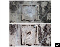 COMBO - This combination of two satellite images provided by UNITAR-UNOSAT shows damage to the main building of the ancient Temple of Bel in Palmyra, Syria on Monday, Aug. 31, 2015, top, and before the damage on Thursday, Aug. 27, 2015. The main building