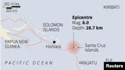 Bản đồ động đất ở quần đảo Solomon (REUTERS)