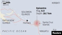 Titik pusat gempa di dekat kepulauan Solomon yang mengguncang wilayah ini, Rabu, 6 Februari 2013 (Grafik: REUTERS).