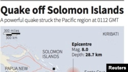Solomon Island Earthquake Map (REUTERS)