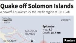 Solomon Island Earthquake Map (REUTERS)
