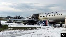 Hiện trường nơi chiếc máy bay của hãng Aeroflot gặp nạn.
