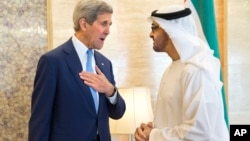 U.S. Secretary of State John Kerry (L) meets with Crown Prince Mohammed bin Zayed Al Nahyan at the Mina Palace in Abu Dhabi, United Arab Emirates, Nov. 23, 2015.