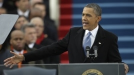 President Barack Obama speaks at his ceremonial swearing-in at the U.S. Capitol during the 57th Presidential Inauguration in Washington, Jan. 21, 2013.