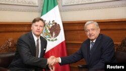Mexico's President Andres Manuel Lopez Obrador shakes hands with newly appointed U.S. Ambassador to Mexico Christopher Landau, during a meeting at National Palace in Mexico City, Mexico, Aug. 26, 2019.