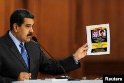니콜라스 마두로 베네수엘라 대통령이 지난 7일 카라카스의 미라플로레스 궁전에서 기자회견을 열고 드론 암살미수 사건을 설명하고 있다.