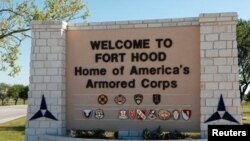 FILE - The main gate at the U.S. Army post at Fort Hood, Texas, is pictured in this undated photograph, obtained Nov. 5, 2009.