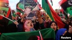 Femmes manifestant à Tripoli, en Libye, le 17 février 2015.