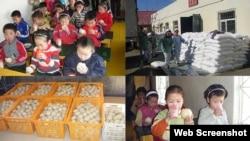 북한 어린이들에게 빵을 지원하는 영국 민간단체인 '북녘 어린이 사랑'의 활동 사진. 사진 출처 = '북녘 어린이 사랑' 웹사이트.
