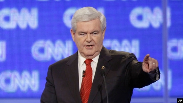 Republican presidential candidate former House Speaker Newt Gingrich participates in the Republican presidential candidate debate in Charleston, S.C. Jan. 19, 2012.