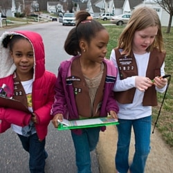 Girl Scout Brownies selling cookies in a Raleigh, North Carolina, neighborhood