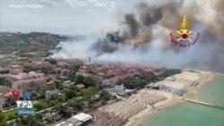 تصاویر هوایی از مقابله با آتشسوزی جنگلی در سواحل ایتالیا