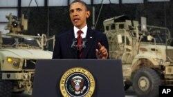 El presidente Barack Obama durante su discurso desde la base aérea de Bagram, en Afganistán.