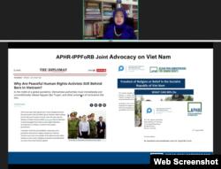 Bà Desi Hanara, Điều phối viên Khu vực Đông Nam Á cho một dự án chung giữa các Nghị Sĩ ASEAN về Nhân Quyền (APHR) và Ủy Ban Quốc tế của các Nghị sĩ về Tự do Tôn giáo hoặc Tín ngưỡng (IPPFoRB) phát biểu ngày 14/8/2020 trong chuỗi Hội Luận Ngày Vận động cho