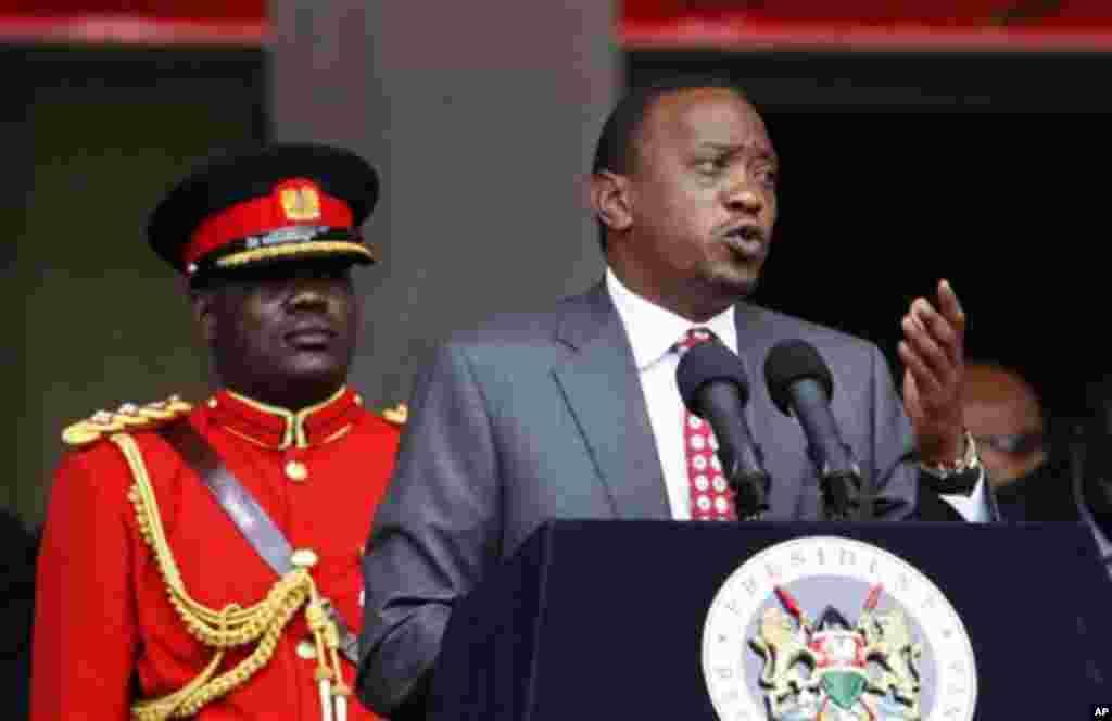 Shugaban Kenya Uhuru Kenyatta. Shugabanni daga kasashen Afirka da duniya sun kasance wurin bukukuwan a Nairobi domin tunawa da ranar.