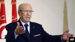 FILE - Tunisian President Beji Caid Essebsi has proposed a junior minister who is a family member as his candidate to replace sacked Prime Minister Habib Essid, politicians said Aug. 2, 2016, drawing accusations of nepotism from the opposition.