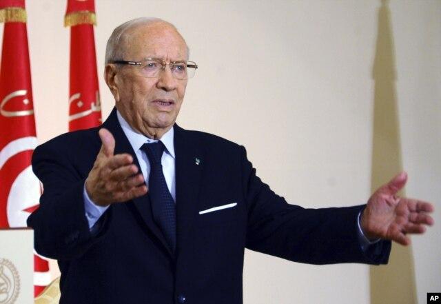 FILE - Tunisian President Beji Caid Essebsi.