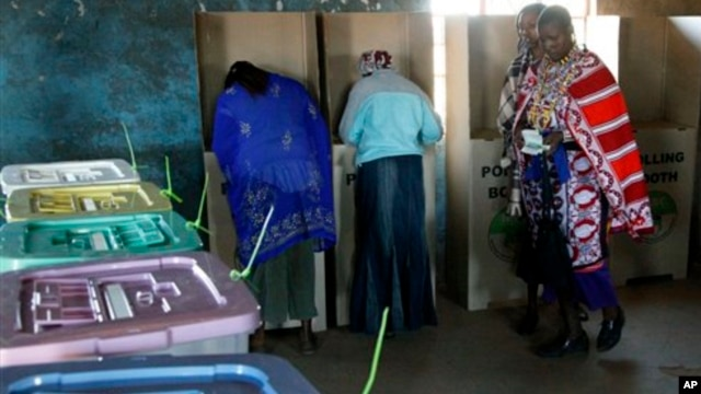 Ballot boxes in Kajiado West, some 60 kilometers (37 miles) from Nairobi.